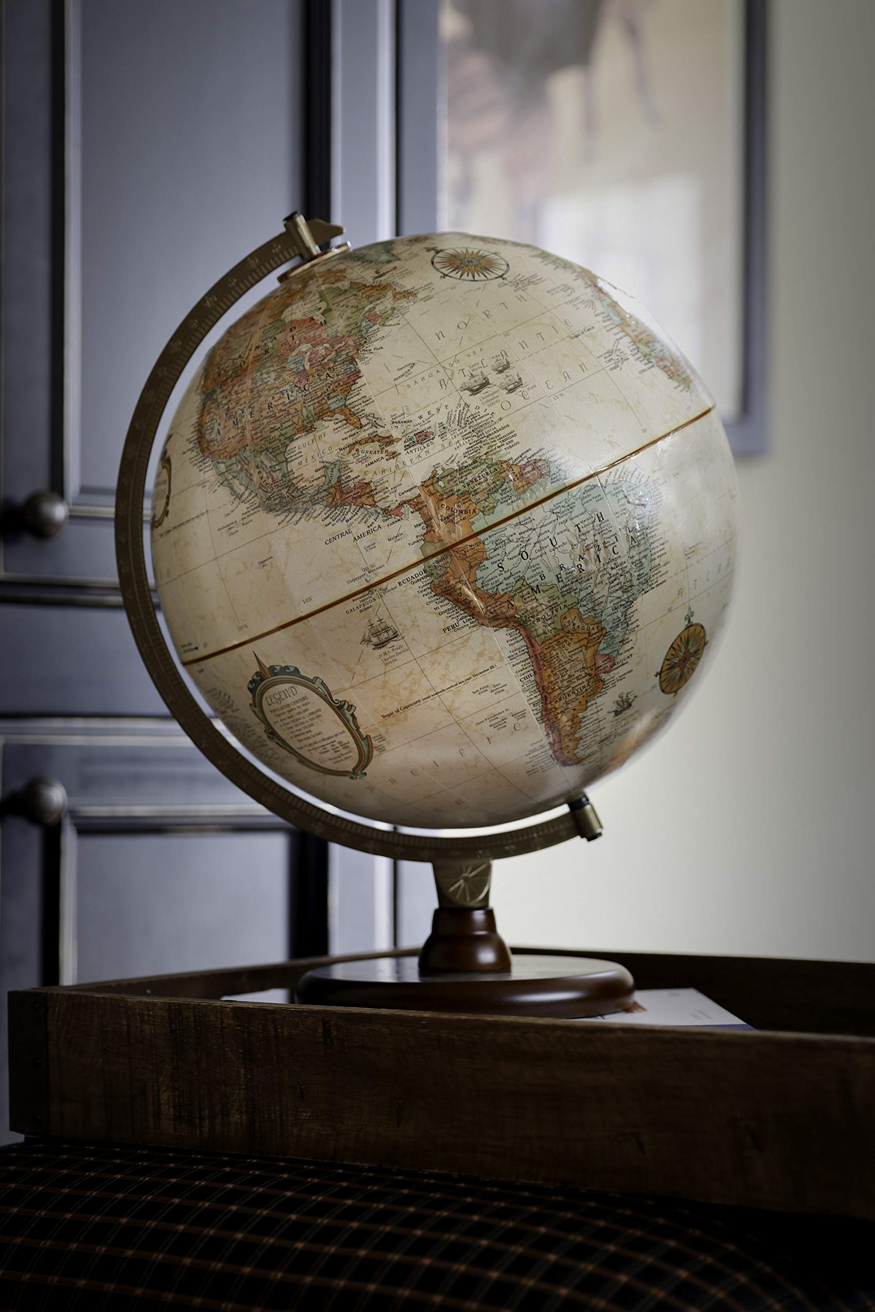 Replogle Piedmont 12'' Antique Ocean Color World Globe Made in USA by Replogle