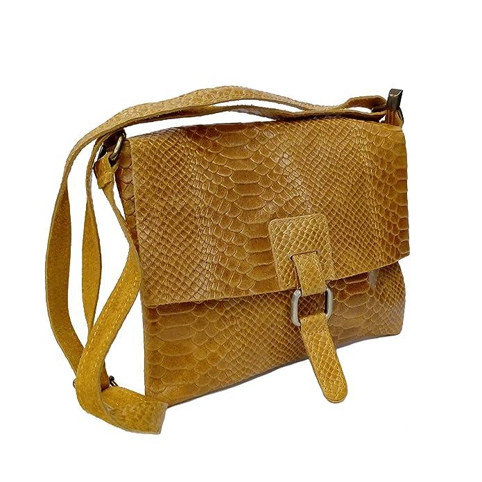 fd6d7d888 Bolso bandolera de piel con textura color Mostaza.: Amazon.es: Zapatos y  complementos
