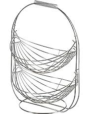 Levivo Frutero de Bambú y Metal - Frutero de Cocina Moderno - Frutero con Base de Madera y Rejilla de Metal Oscilante - Fruteros, 36 x 21.5 x 18.5 cm