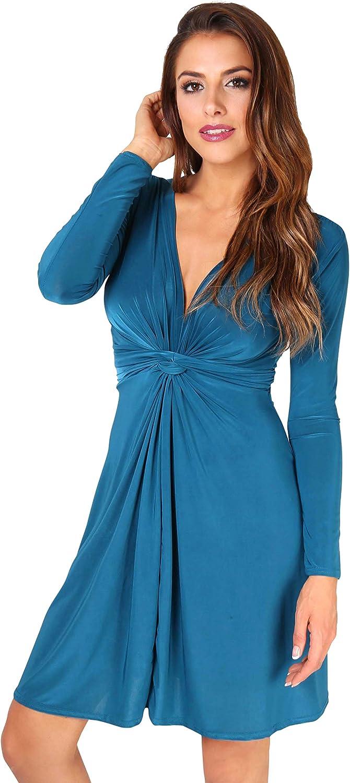 TALLA 46. KRISP Chaqueta Mujer Fiesta Punto Encaje Blazer Elegante Cardigan Azul Verdoso (9878) 46