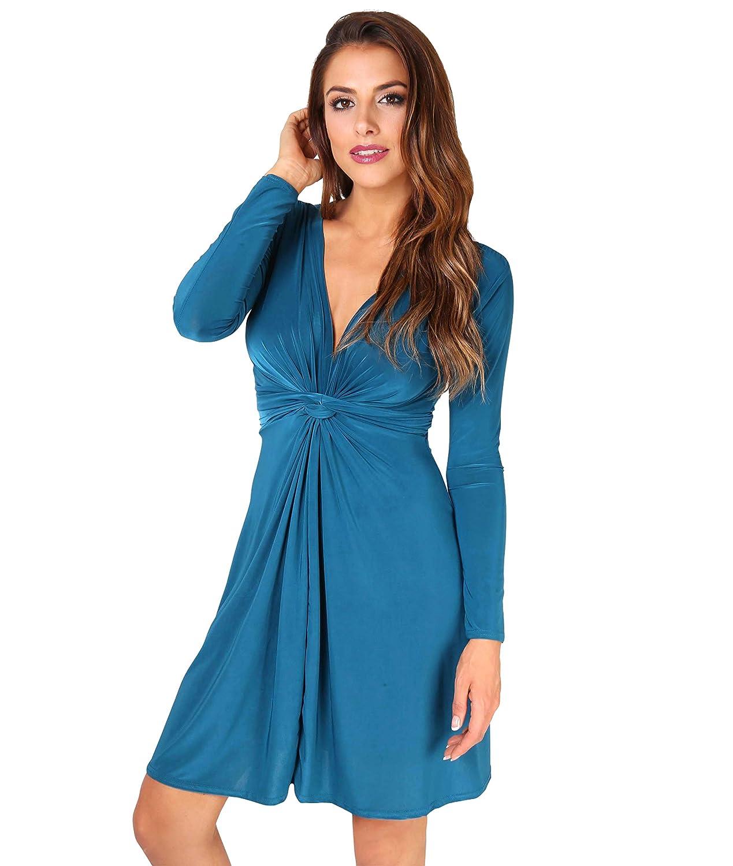 TALLA 48. KRISP Chaqueta Mujer Fiesta Punto Encaje Blazer Elegante Cardigan Azul Verdoso (9878) 48