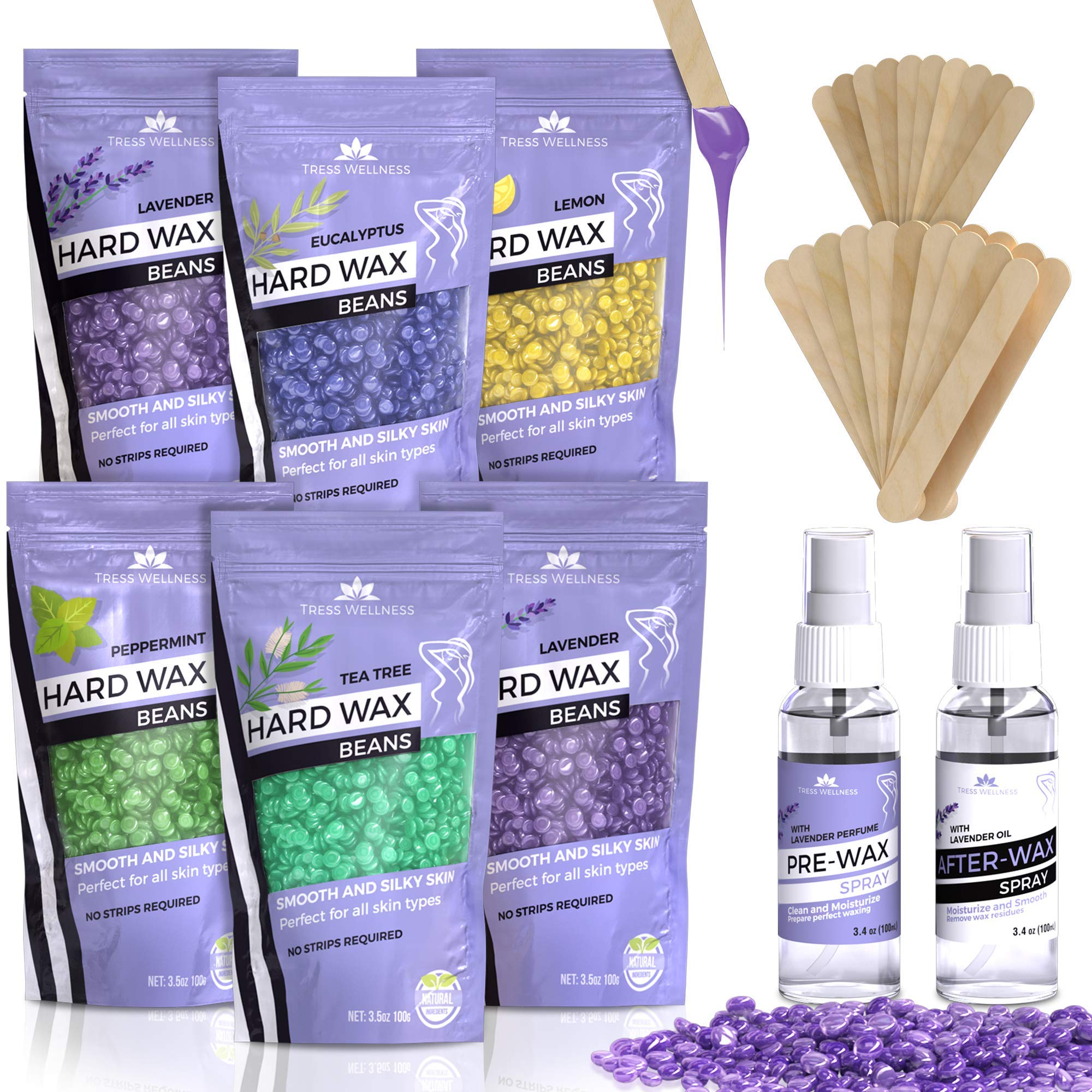 Hair Waxing Strips - Hard Wax Beans [6 Bags + Pre & After Spray] Hard Wax Beads Hair Removal - Waxing Beds