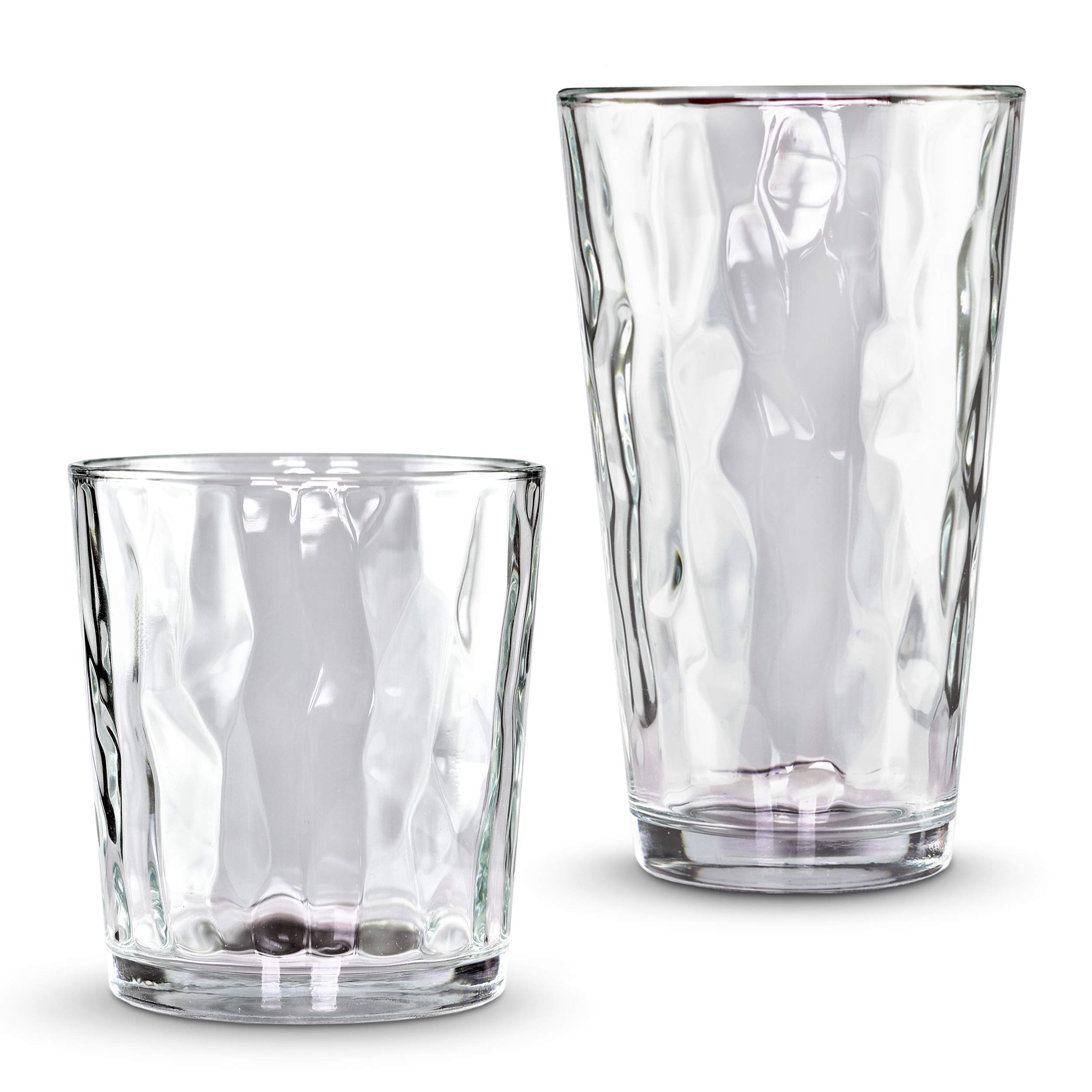 Emenest Clear Drinking Glasses (Set of 16) | Real Glassware with Heavy Base | 8 Highball and 8 Double Old Fashioned Drinkware | Mixed Tumbler Set For Water, Whiskey, Cocktails | Best Kitchen Gift