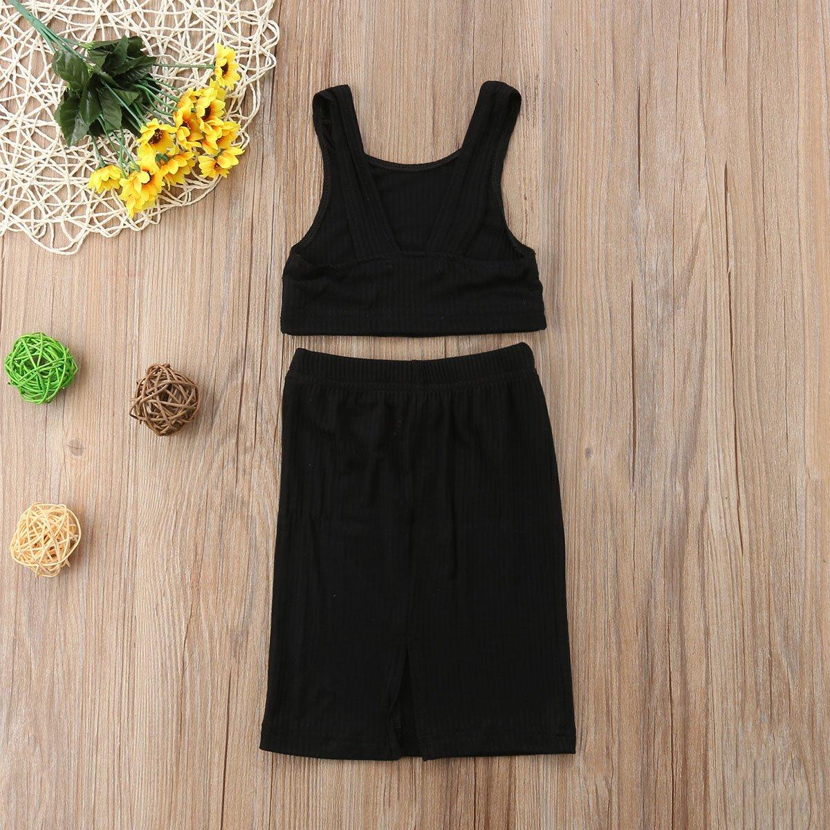 Toddler Little Baby Girl Summer Knitted Outfit,Tank Top+Tight Split Skirt Set