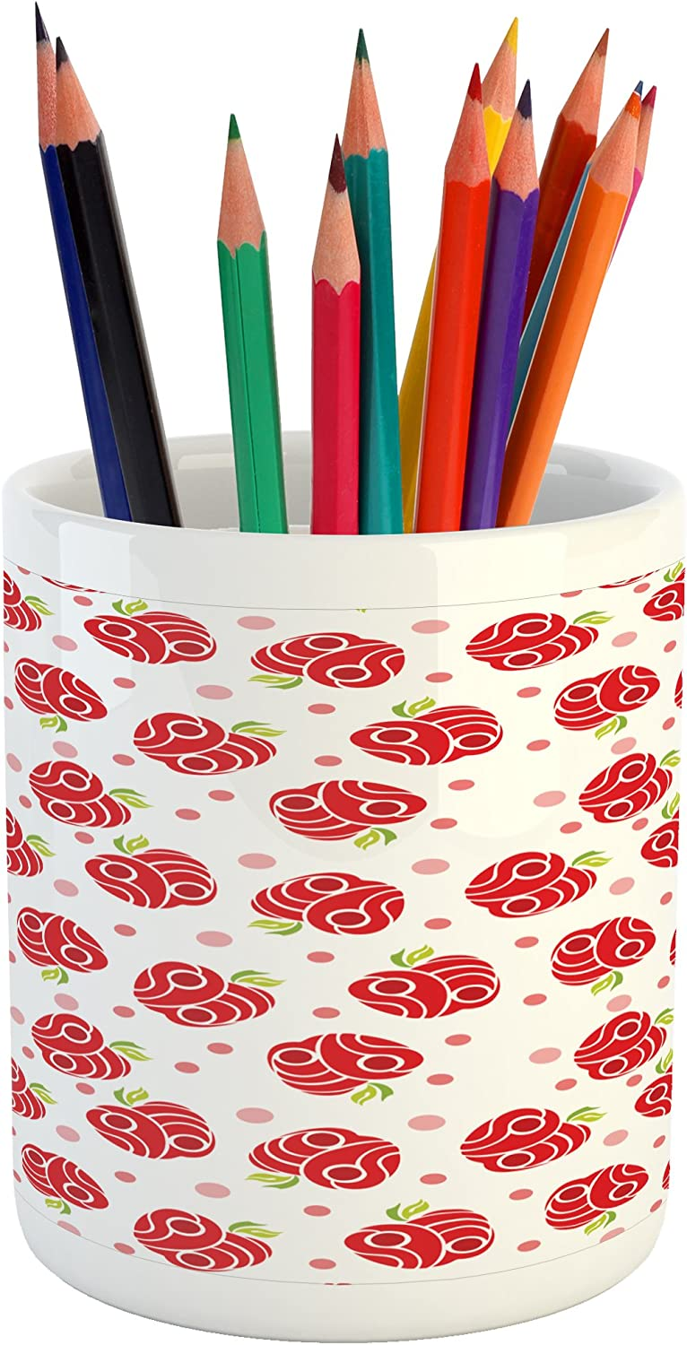 Ambesonne Apple Pencil Pen Holder, Geometric Shapes Patterned Apples Curves and Circles on Dotted Background, Printed Ceramic Pencil Pen Holder for Desk Office Accessory, Blush Red Apple Green