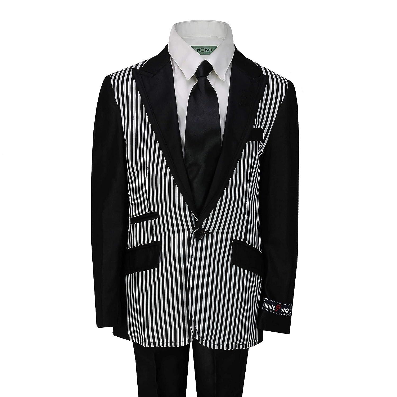 JP Kids Boys 2 Piece Suit Black White Stripe Smart Formal Pageboy Wedding Party