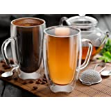 Glass Coffee or Tea Mugs, 15oz or 450ml, Double walled, Set of 2, Insulated, Tea, cappuccino, latte cups