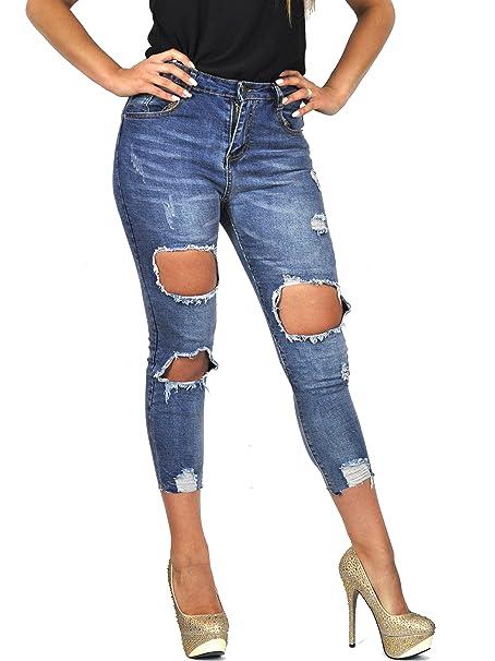 4f9a1b0d28 GYOIAMEA Jeans Donna Elegante STRAPPATO SFILACCIATO Caviglia Vita ...