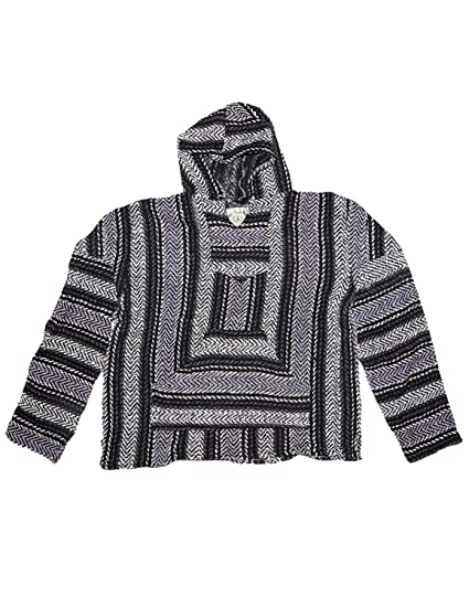 Amazon Com Baja Joe Eco Friendly Woven Striped Pullover Baja Hoodie