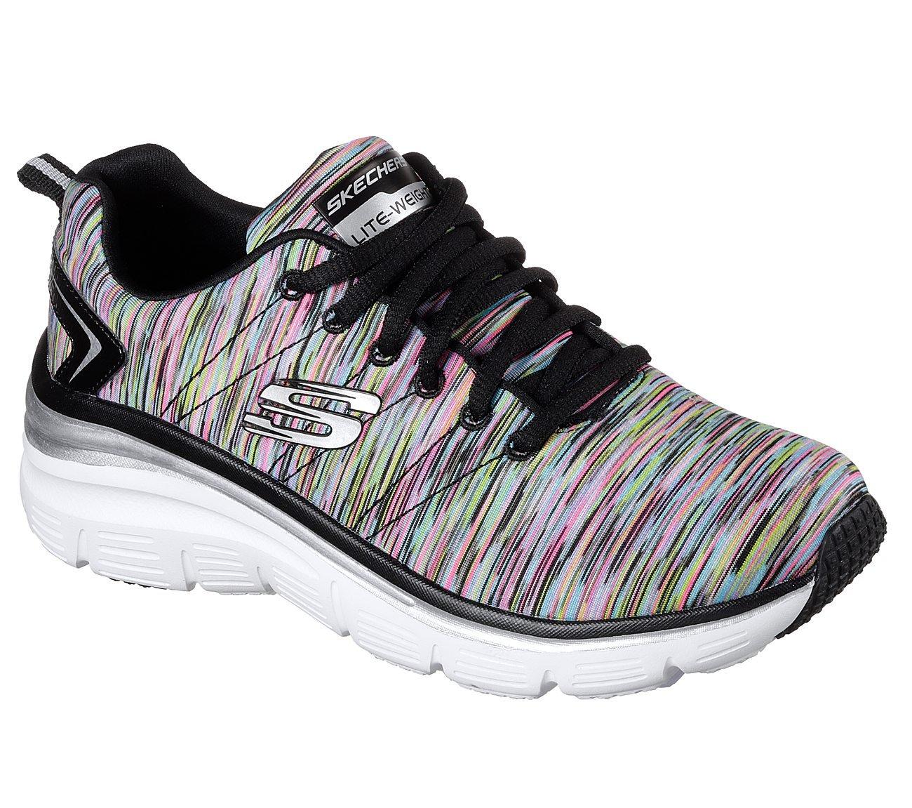 Skechers Women's Fashion Fit Sneaker,Black/Multi,6.5