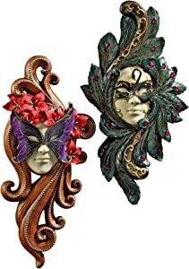 Design Toscano PD92278 2-Piece Masquerade at Carnivale Countess Mask Wall Sculpture Set,Full Color