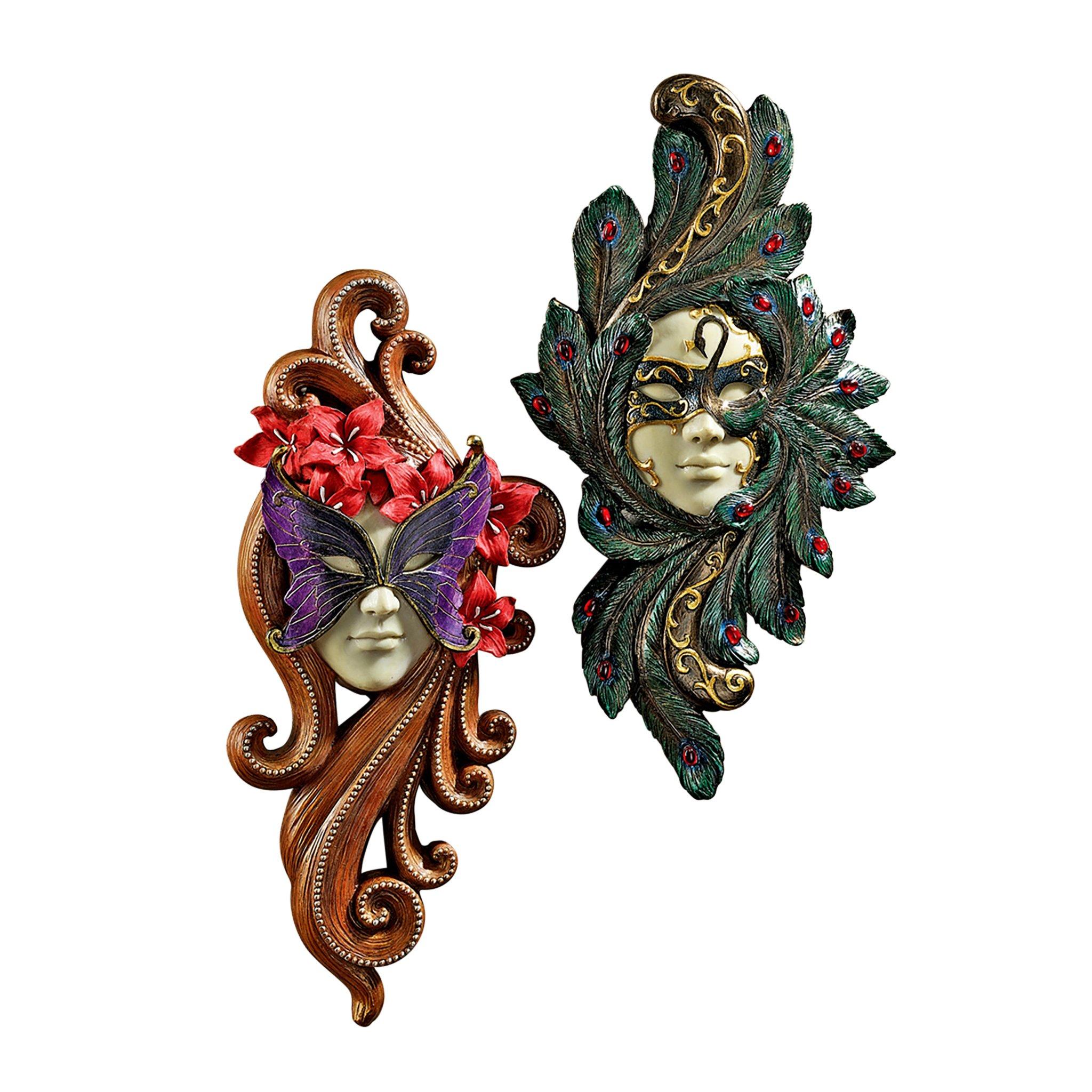 Design Toscano 2-Piece Masquerade at Carnivale Countess Mask Wall Sculpture Set