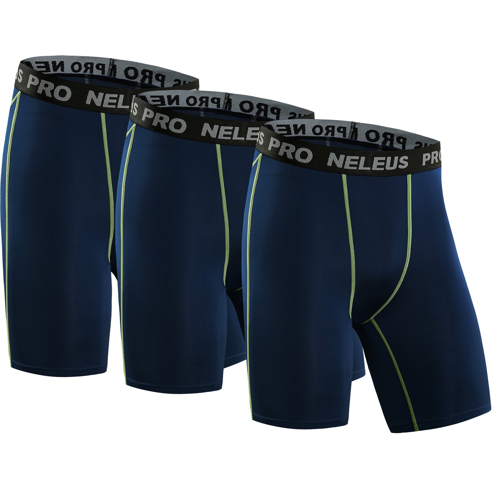 Neleus Men's 3 Pack Compression Short,047,Navy Blue,US S,EU M