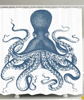 Ambesonne Kraken Shower Curtain Octopus Decor By For Baby Sea Creatures Life Nautical Blue