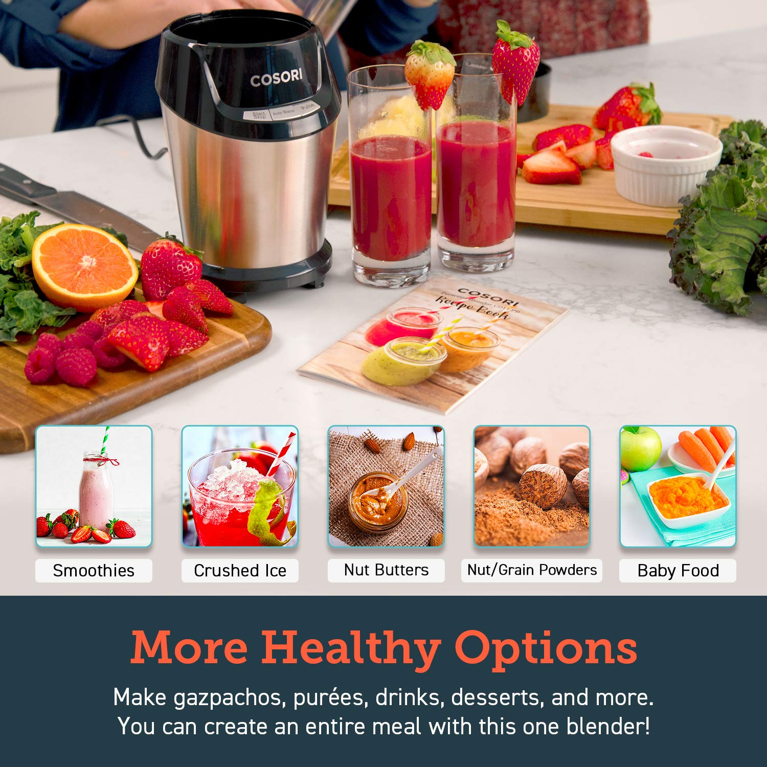 one 12oz Cup Smoothie Blender Recipe Book Included Auto /& Pulse Function to Extract Nutrients for Juices /& Shakes 800-Watt Base 2 X 24oz Personal Blender for Shakes and Smoothies 2-Year Warranty COSORI Blender
