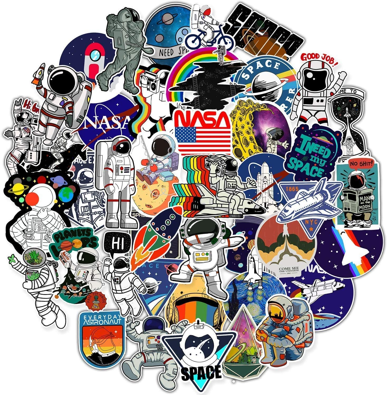 50 Pcs NASA Sticker Pack, Space Explorer Astronaut Vinyl Stickers for Laptop, Water Bottle, Skateboard DIY Decorations, Waterproof Cool Outer Space Stickers for Teens Kids Adults Gift