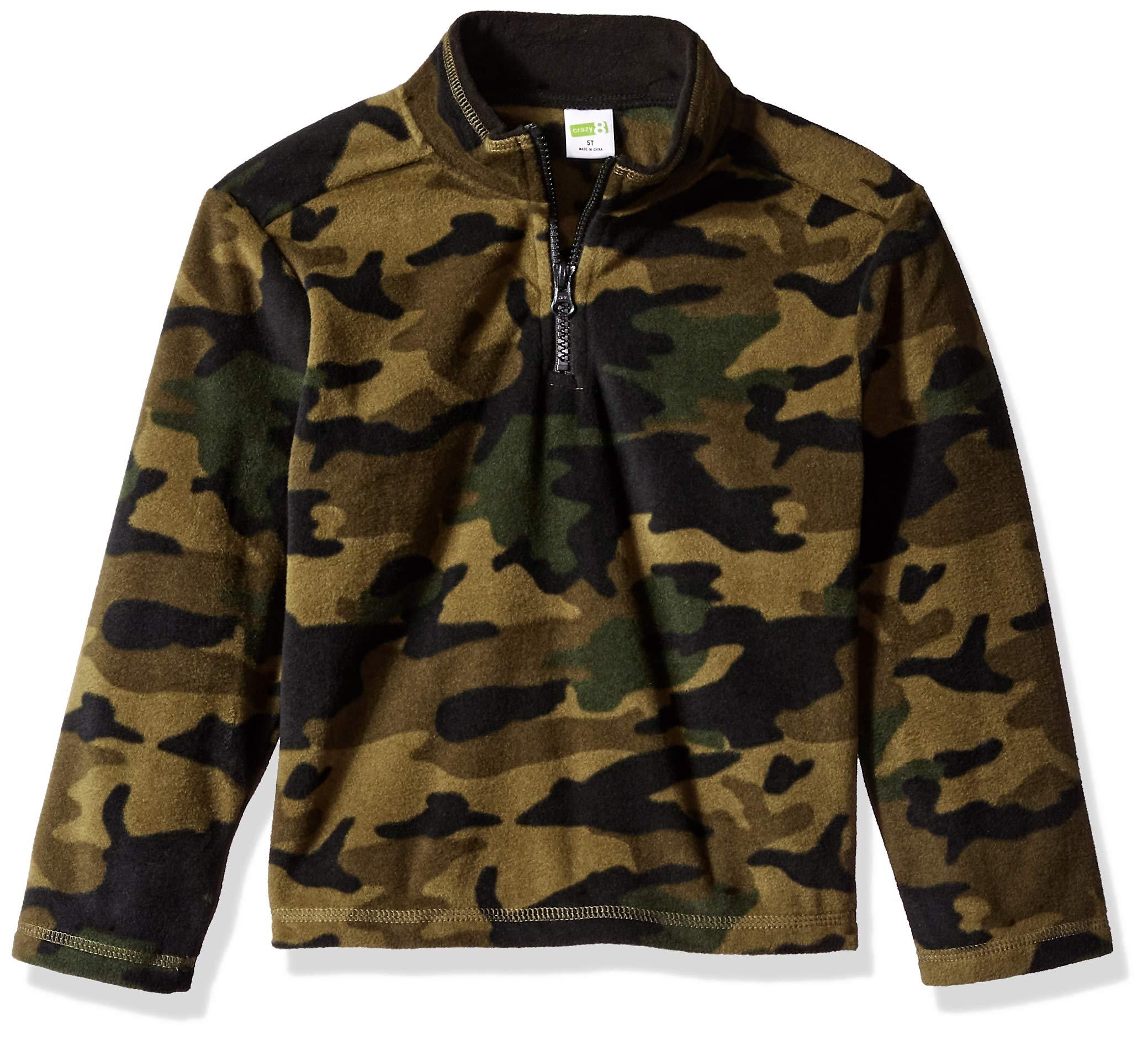 Crazy 8 Boys' Big Half Zip Pullover Sweater, Four Leaf Clover, 5T