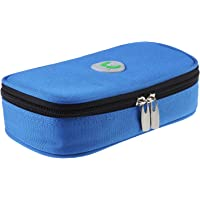 Diabetiker Tasche Insulin kühltasche Medikamenten Kühltasche Temperaturanzeige für Diabetikerzubehör (Blau - Nein Kühlakkus)