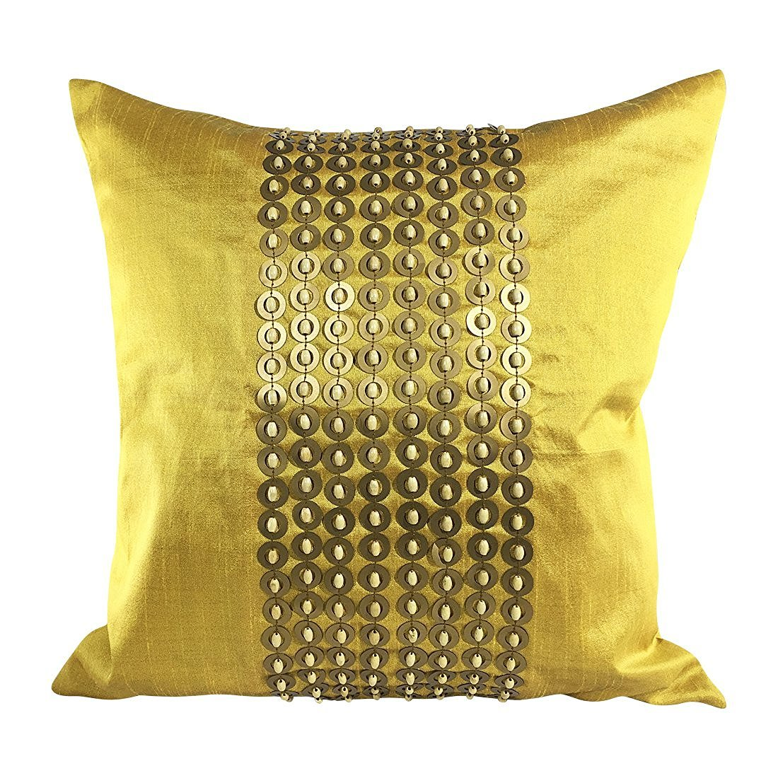 Mustard Yellow Gold Decorative Pillow Cover With Gold Sequins and Wood Bead Embroidery In Panel Pattern 16x16 inch, Mustard Yellow