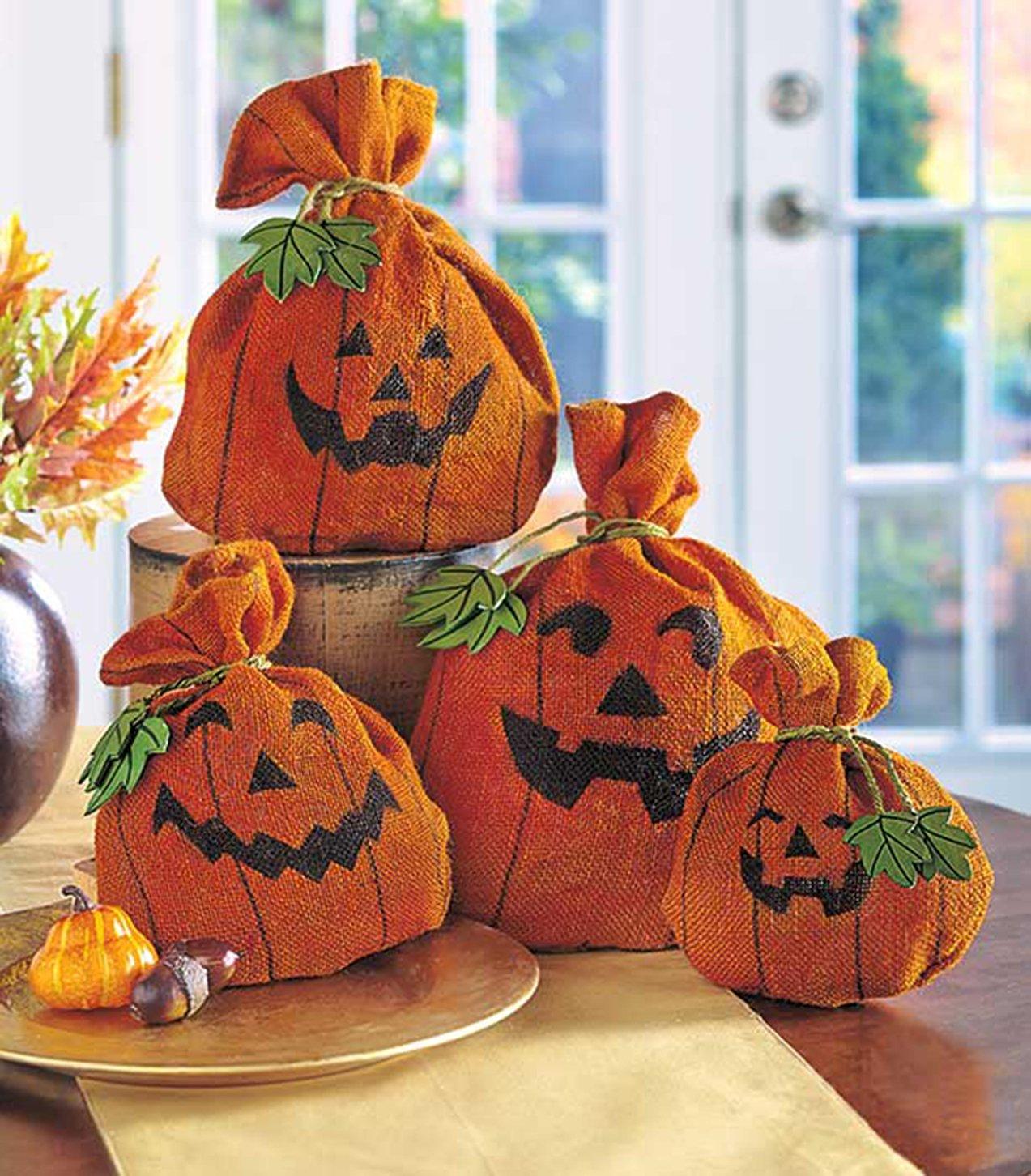 amazon com burlap pumpkin set of 4 halloween decor decorative amazon com burlap pumpkin set of 4 halloween decor decorative burlap sacks home kitchen