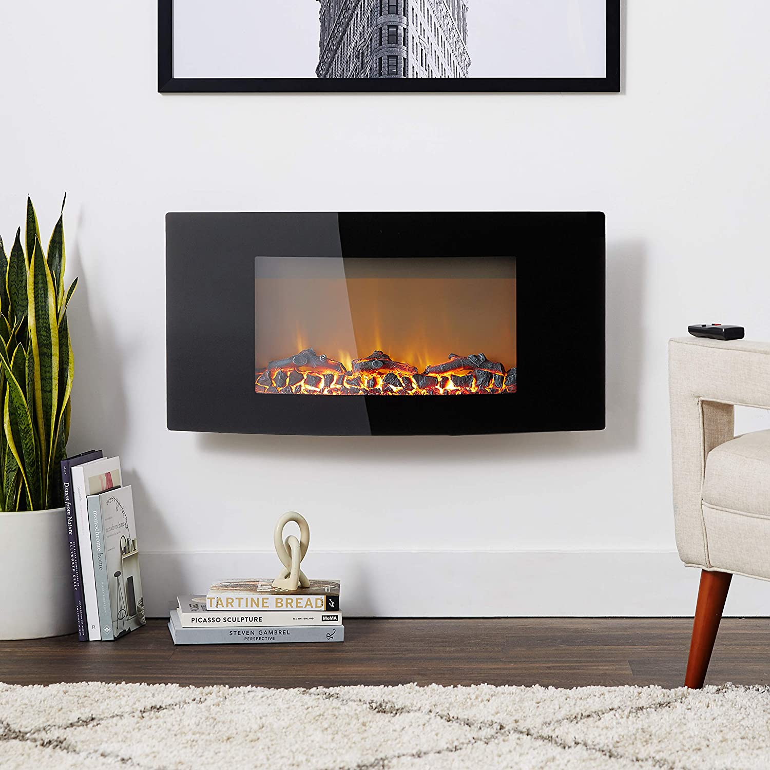 Wall-Mount Electronic Fireplace with Curved Panel and Crystal Rocks Cambridge Callisto 35 In