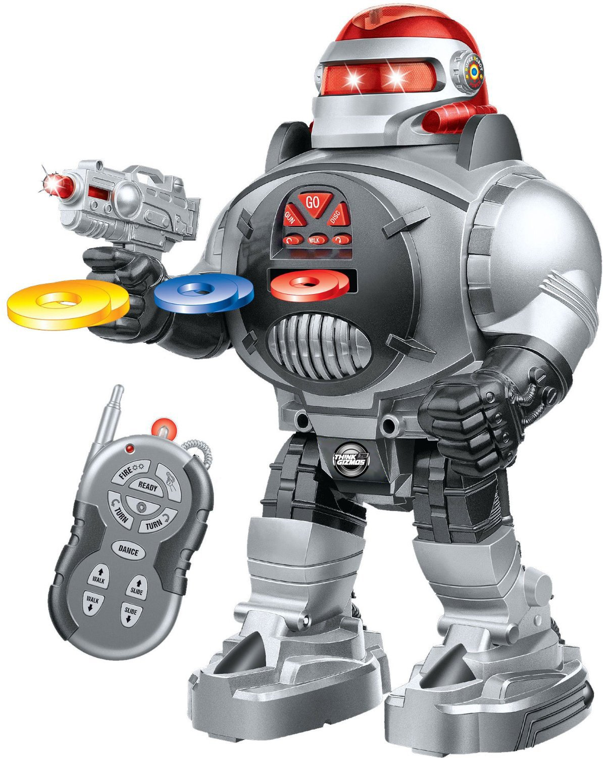 image of a gray Toy robot holding a gun with remote