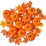 Lulu Home Thanksgiving Pumpkin Decorations, 12 Packs Artificial Mini Pumpkins and 30 Pcs Fake Maple Leaves, Fall Day…