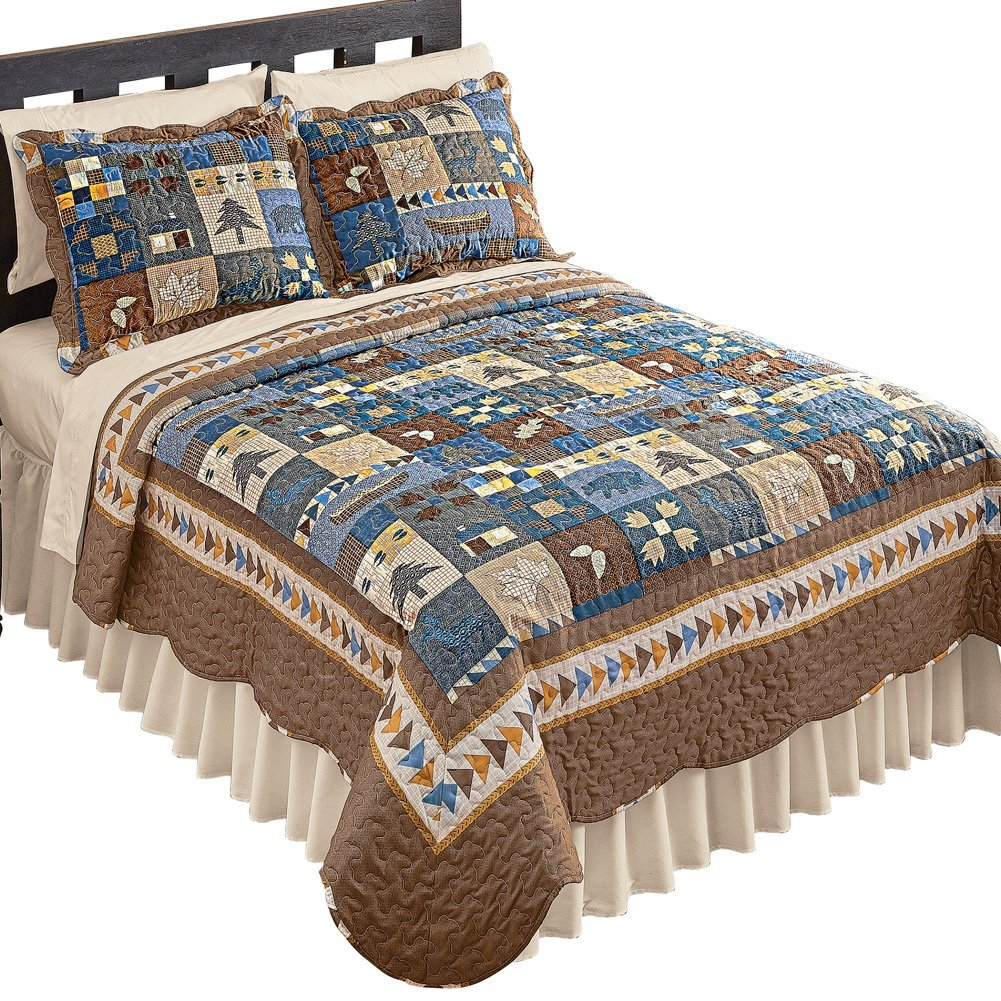 Collections Etc Woodlands Cabin Blue and Brown Patchwork Quilt, Bears, Moose, Pine Trees Décor, Blue Patchwork, Full/Queen