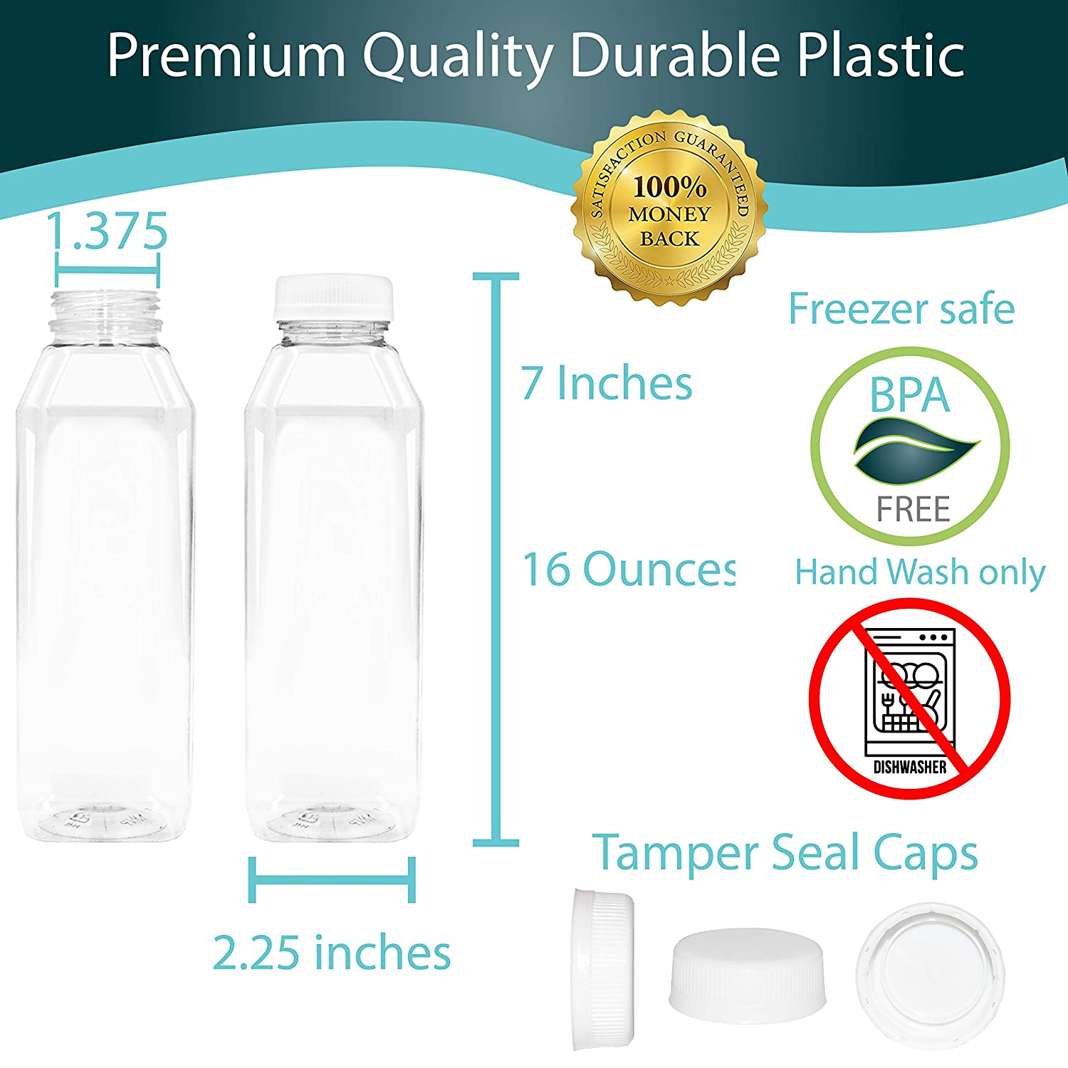 16 oz Empty Juice Bottles Set of 10 Reusable Clear Plastic Disposable Milk Containers with White Tamper Evantend Caps