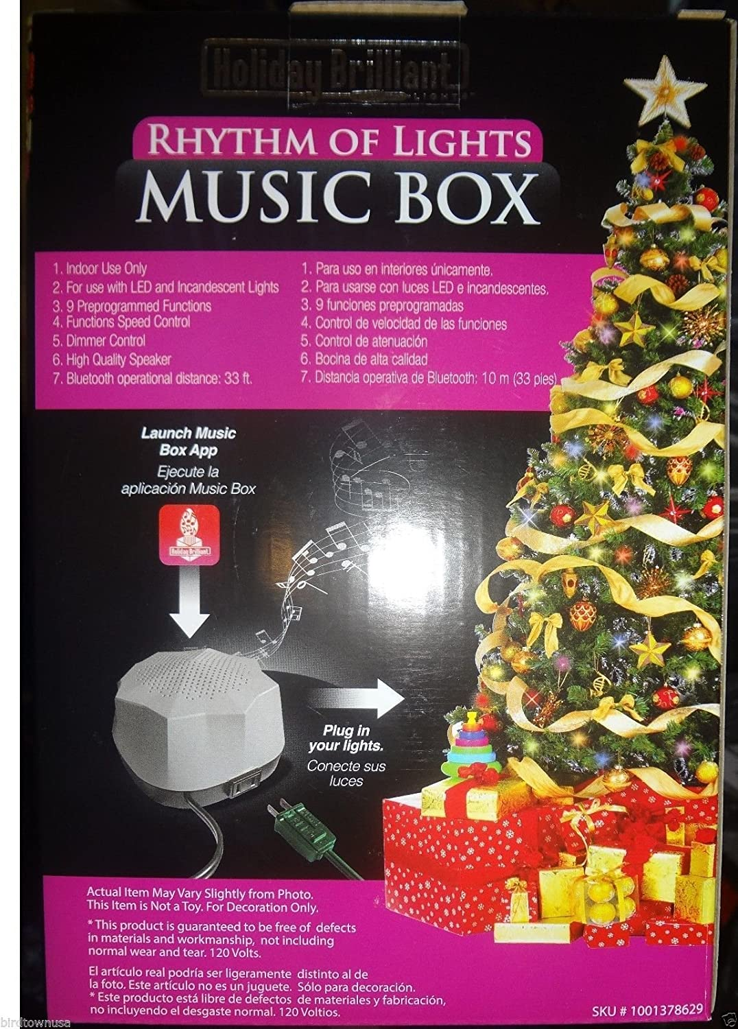 amazoncom holiday brilliant rhythm of lights music box bluetooth speaker controls lights and music home improvement