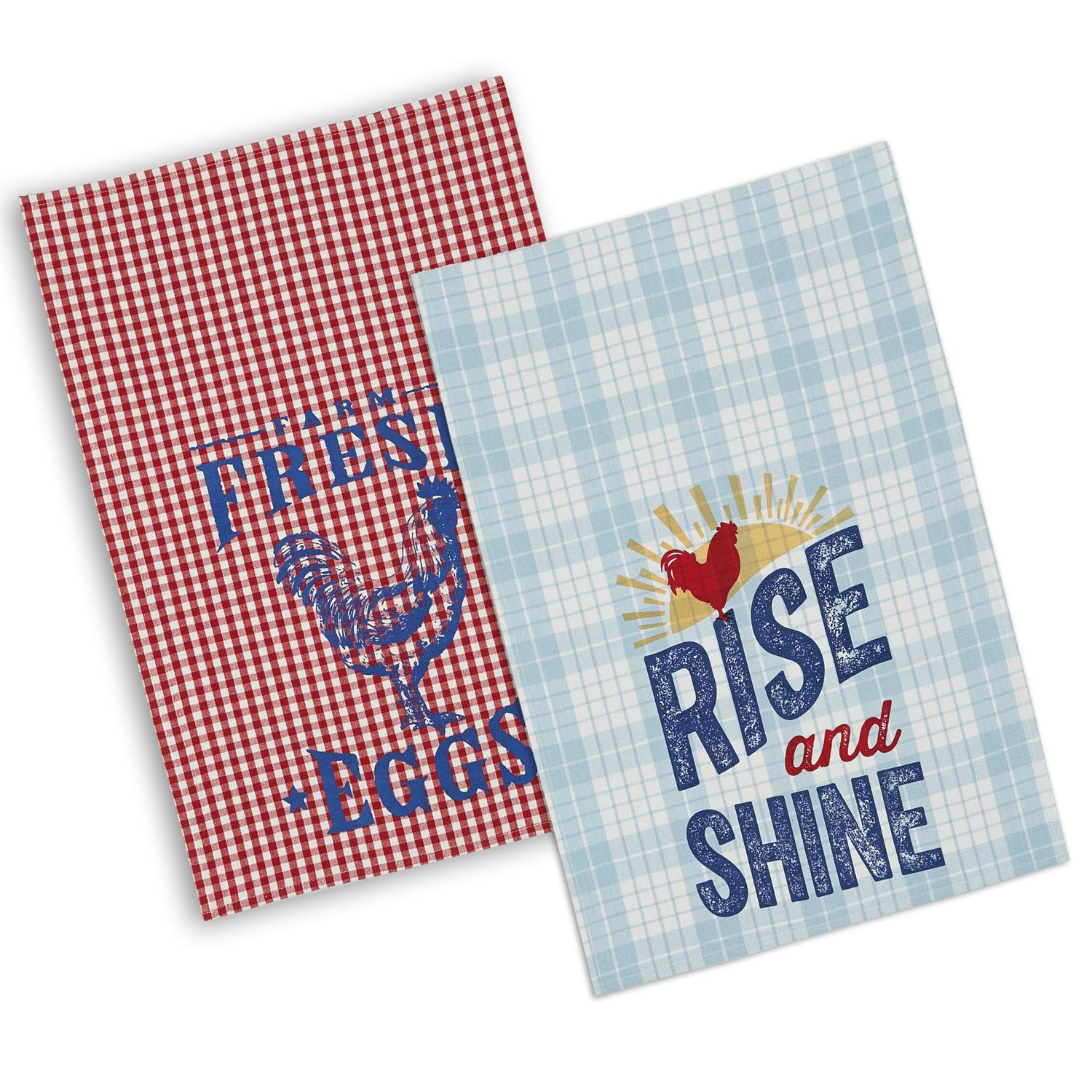 DII 100% Cotton, Machine Washable, Everyday Kitchen Basic Printed Assorted Rooster's Dishtowel, 18x28