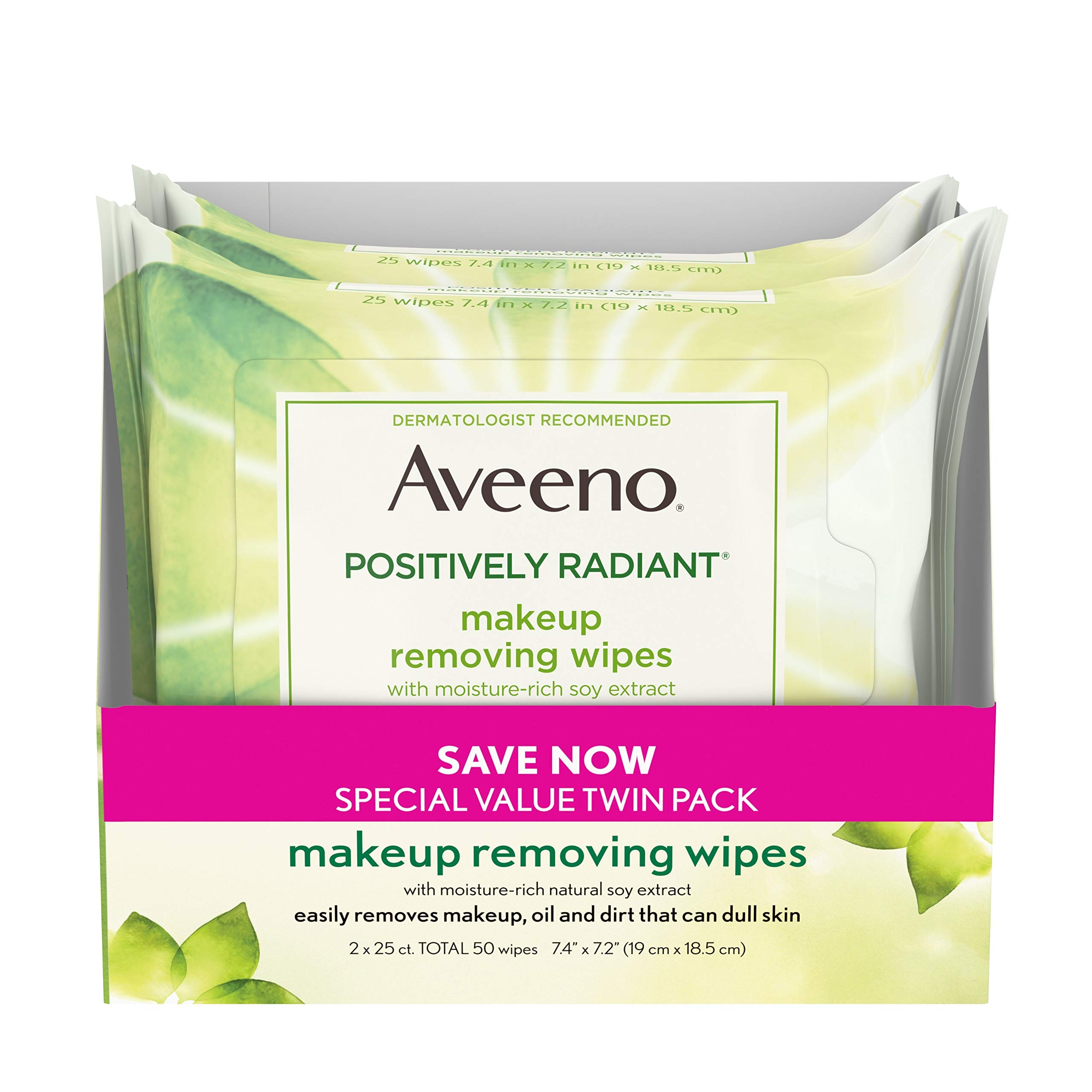 Aveeno Positively Radiant Oil-Free Makeup Removing Wipes to Help Even Skin Tone and Texture with Moisture-Rich Soy Extract, 25 ct., Twin pack by Aveeno