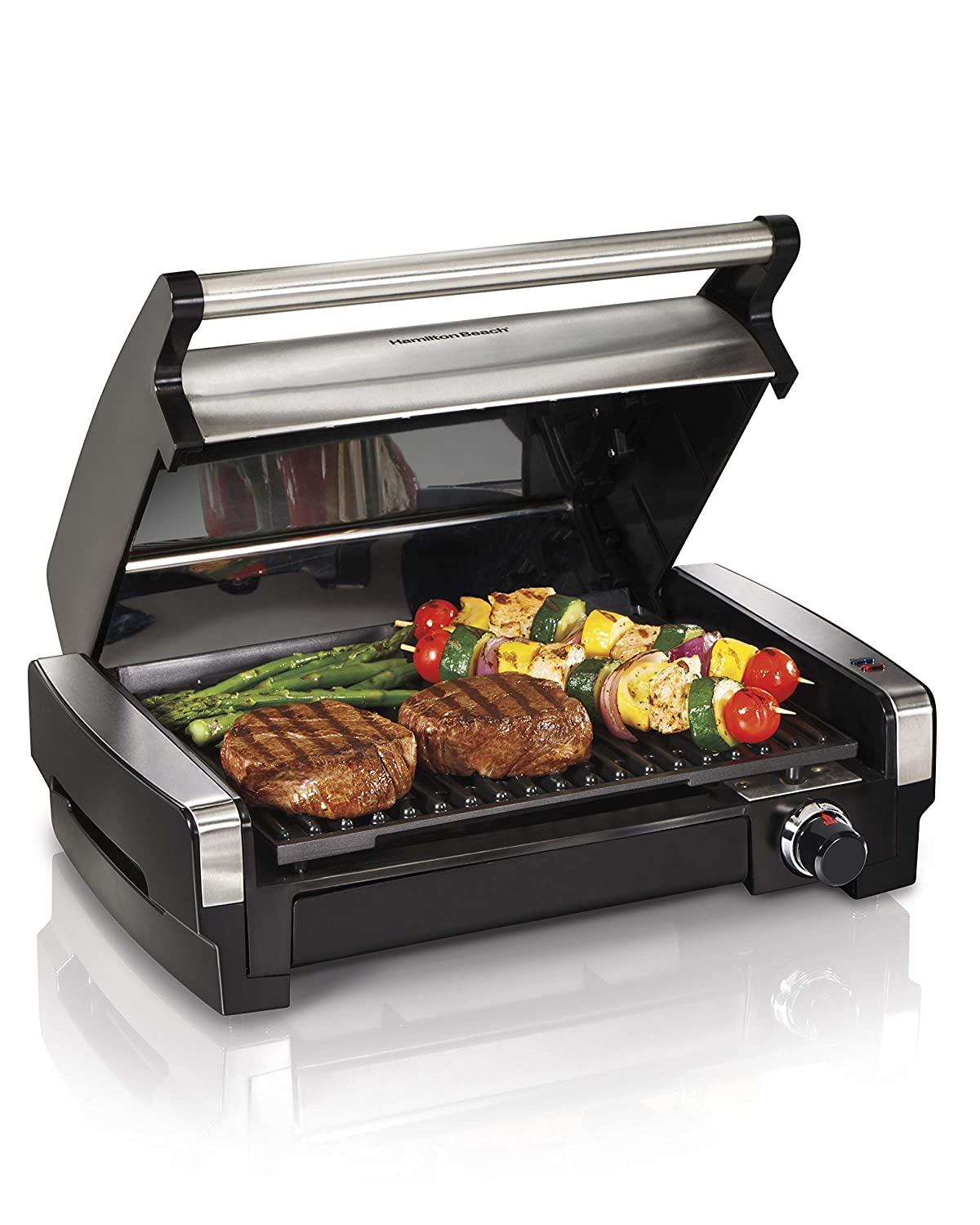 Hamilton Beach 25360 Indoor Searing Grill with Removable Easy-to-Clean Nonstick Plate, Extra-Large Drip Tray, Stainless Steel Renewed