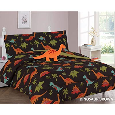 6 Piece Twin Size Kids Boys Teens Comforter Set Bed in Bag w/Sham, Sheet Set and Decorative Toy Pillow, Dinosaur T-Rex Brown Boys Comforter Bedding Set w/Sheets, Twin 6pc Dinosaur Brown: Home & Kitchen