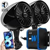 "GoHawk TJ4-W Waterproof Amplifier 4"" Full Range Bluetooth Motorcycle Stereo Speakers 1 to 1.25 in. Handlebar Mount Audio Amp"