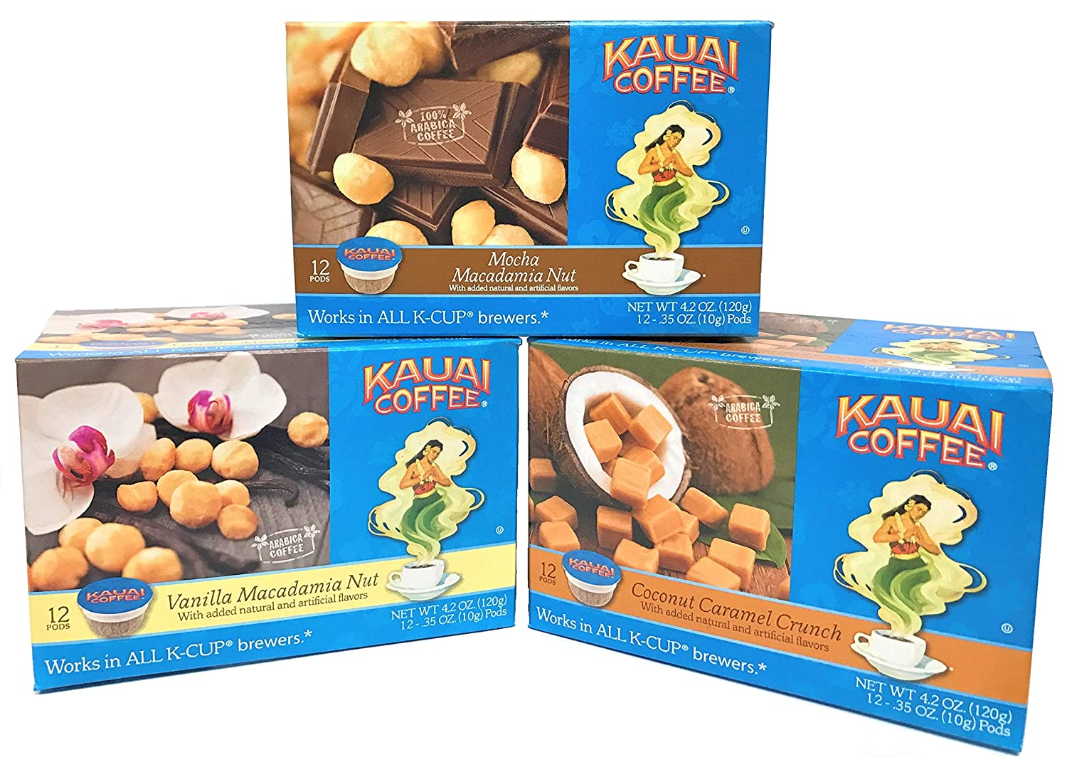 Kauai Coffee Variety Pack of 3, 12 Single Serve Pods, 1 - Coconut Caramel Crunch, 1 - Mocha Macadamia Nut and 1 - Vanilla Macadamia Nut, Keurig-Compatible Cups
