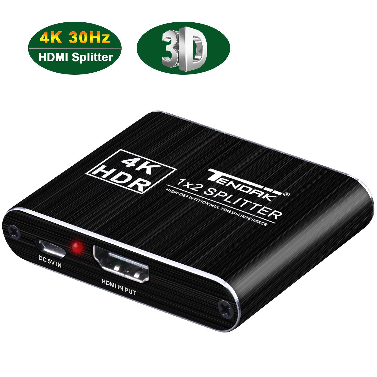 1x2 HDMI Splitter, Tendak 4K 1 In 2 Out HDMI Signal Powered Splitter Amplifier Adapter Box Support 4k@30HZ 1080P 3D for Roku/PS3/4/DVD/XBox One/HDTV by Tendak (Image #1)