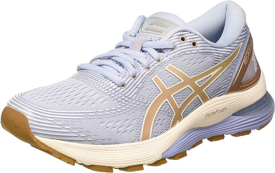 Asics Gel-Nimbus 21, Zapatillas de Running para Mujer, Multicolor (Mist/Frosted Almond 400), 42 EU: Amazon.es: Zapatos y complementos