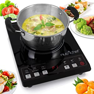 NutriChef PKST14.5 Small Appliance Countertop Burner, Infrared Cooktop, Ceramic Cookware, Electric Stovetop, Black Tempered Glass, LCD Display, Keep Warm 1200W, 120V Chrome