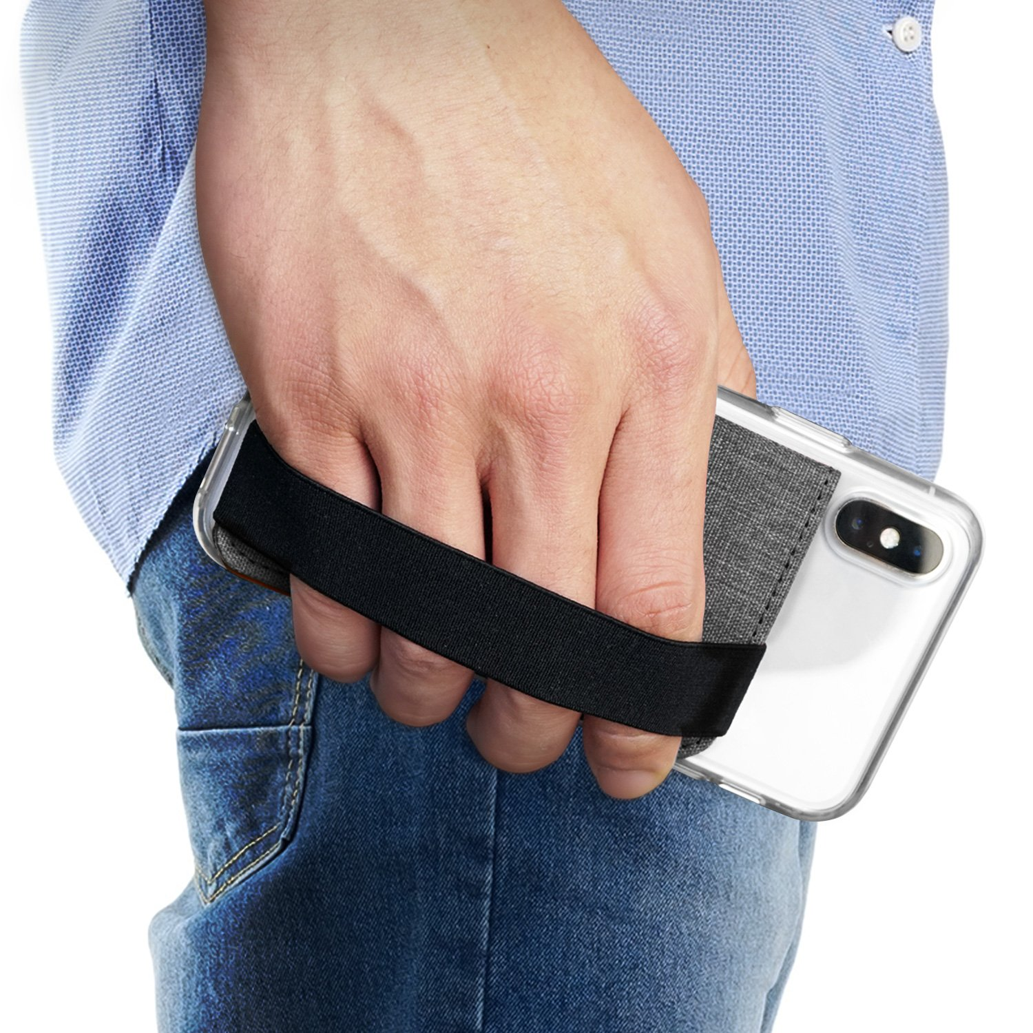 Ringke Flip Card Holder with Elastic Hand Strap [Charcoal Black] Slim Soft Band Grip Fashion Multi-Card Slot Wallet Credit Card Mini Pouch Holder Attachment for iPhone, Galaxy, Note, Google Accessory 4336647840
