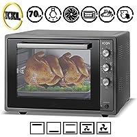 ICQN 70 Liter   1800 W   Anthrazit Mini-Backofen mit Innenbeleuchtung und Umluft   Pizza-Ofen   Doppelverglasung   Timer Funktion   Emailliert