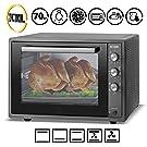 ICQN 70 Liter | 1800 W | Mini-Backofen mit Innenbeleuchtung und Umluft | Pizza-Ofen | Doppelverglasung | Timer Funktion | Emailliert Black