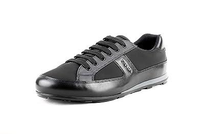 f73bb98a8803 Prada Men s 4E3231 Black Leather Sneaker EU 6 (40) ...