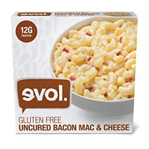 EVOL Uncured Bacon Mac and Cheese, Gluten Free Certified, Single Serve, 12 Grams of Protein Per Serving, 8 Ounce (Frozen)