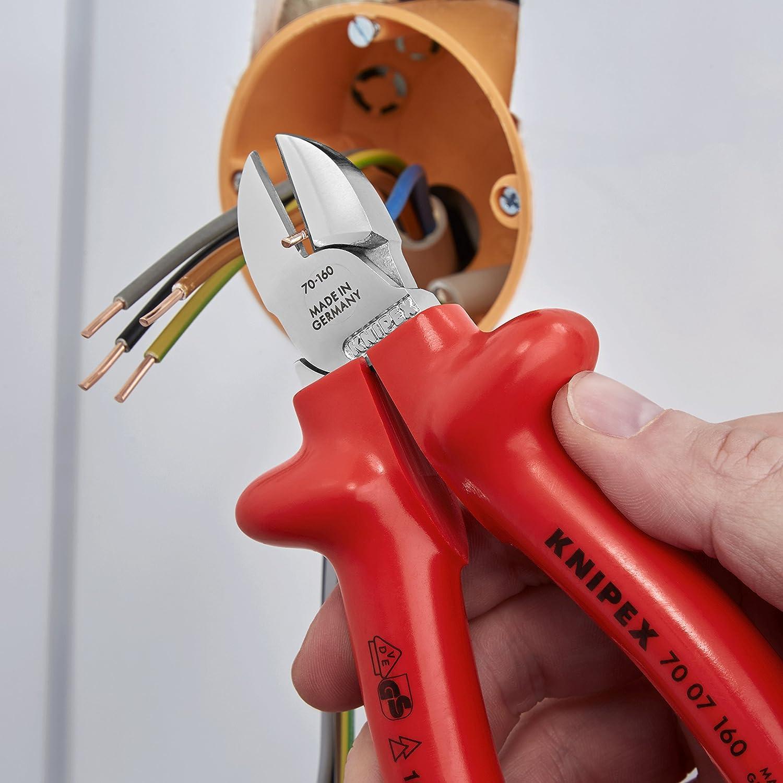 seg/ún norma VDE 160 mm KNIPEX 03 07 160 Alicate universal cromado aislados por inmersi/ón en pl/ástico reforzado