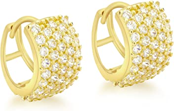 2ef706ef8 Carissima Gold Women's 9 ct Gold Cubic Zirconia Pave Set 13 mm Huggy  Earrings