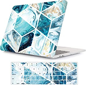 """iLeadon MacBook New Pro 13"""" Case 2016-2019 Release A2159/A1989/A1706/A1708 Rubberized Hard Shell Case Cover+Keyboard Cover for MacBook Pro 13 W/Without Touch Bar & Touch ID, Blue Stitching Marble"""