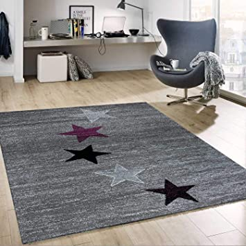 Tapis Design Moderne Gris Mauve Noir Blanc Chambres des ...