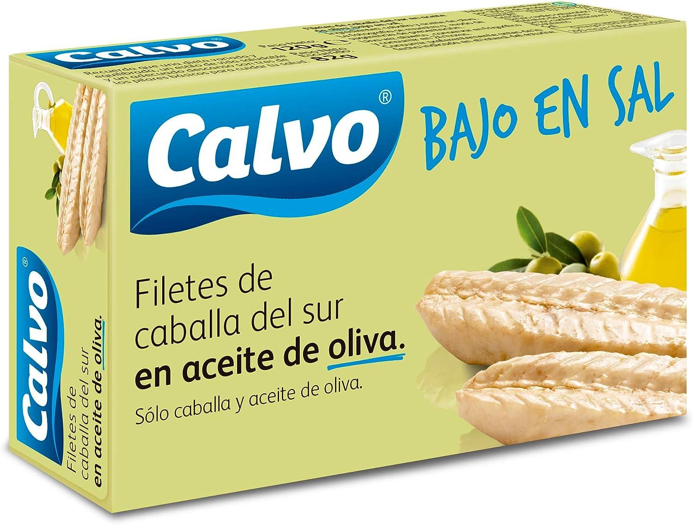 CALVO filetes de caballa en aceite de oliva bajo en sal lata 82 gr