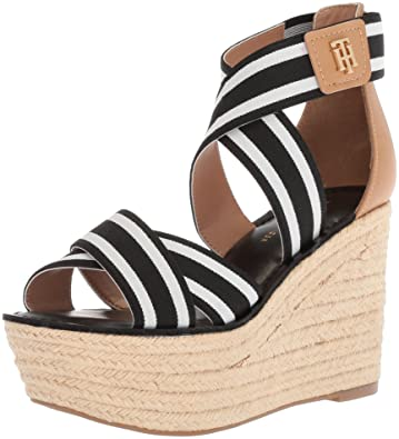 afa9532f0cb2 Tommy Hilfiger Women s Theia Espadrille Wedge Sandal Black White 10 Regular  US